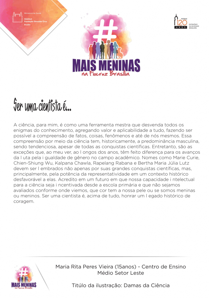 Relato da estudante Maria Rita Peres